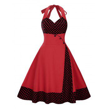 Plus Size Polka Dot Halter Vintage Swing Dress