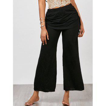 Skirted Drawstring Wide Leg Pants