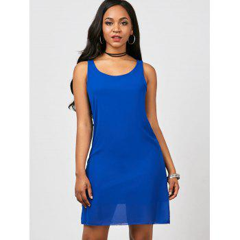 Bowknot Chiffon Mini Tank Dress - BLUE M