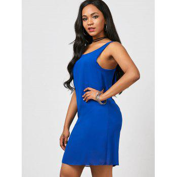 Bowknot Chiffon Mini Tank Dress - BLUE XL
