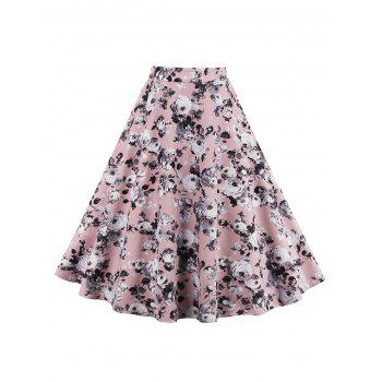 Roses Printed A Line Midi Skirt