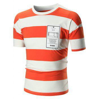 Crew Neck Graphic Striped Tee - ORANGE 2XL