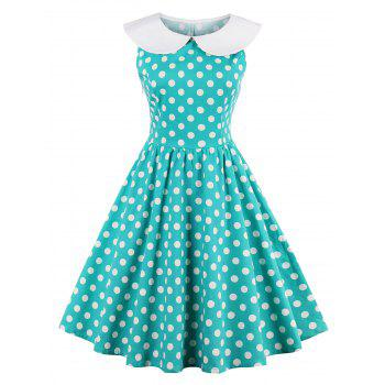 High Waisted Sleeveless Polka Dot 50s Dress