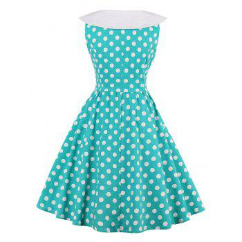 High Waisted Sleeveless Polka Dot 50s Dress - BLUE GREEN 2XL
