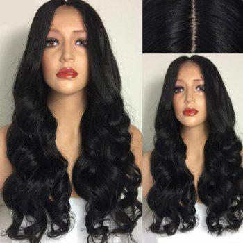 Center Part Ultra Long Body Wave Synthetic Wig - BLACK BLACK