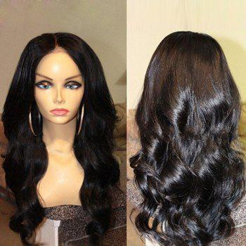 Middle Parting Long Body Wave Synthetic Wig - BLACK BLACK