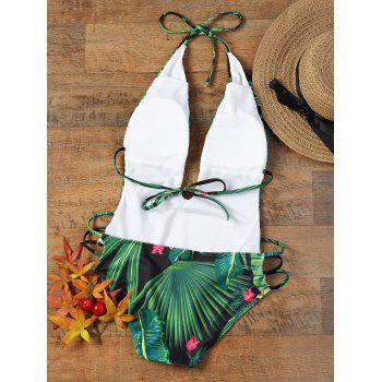 Tropical Print Low Cut Strappy Halter Swimsuit - XL XL