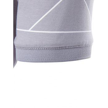 Turndown Collar Linellae Print Polo T-Shirt - GRAY GRAY