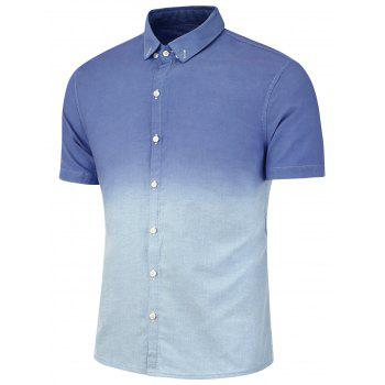 Dip Dye Button Down Short Sleeve Shirt