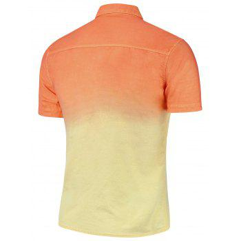 Dip Dye Button Down Short Sleeve Shirt - ORANGE YELLOW ORANGE YELLOW