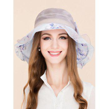 Flower Printing Bowknot Mulberry Silk Layered Hat