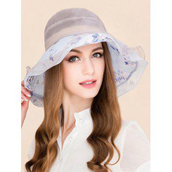 Flower Printing Bowknot Mulberry Silk Layered Hat -  LIGHT BLUE