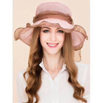 Lacing Bowknot Mulberry Silk Sun Hat - PINK PINK