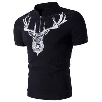 Stand Collar Elk Print Half Zip Up T-Shirt