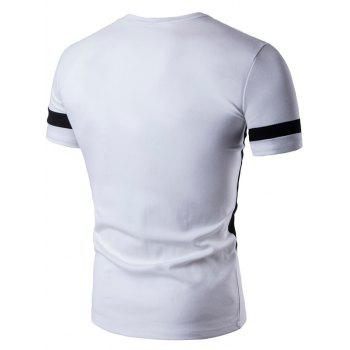 Short Sleeve Color Block Geometric Panel T-Shirt - WHITE WHITE