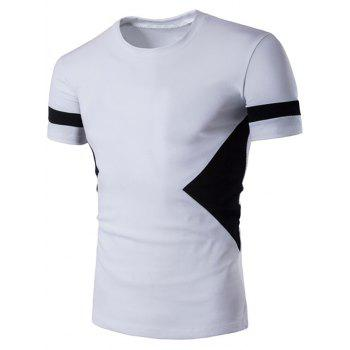 Short Sleeve Color Block Geometric Panel T-Shirt - WHITE 2XL