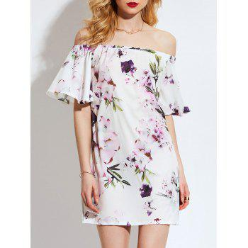 Floral Flared Sleeve Off Shoulder Shift Dress