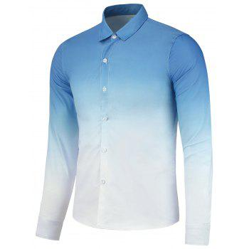 Button Up Ombre Print Long Sleeve Shirt - CLOUDY CLOUDY