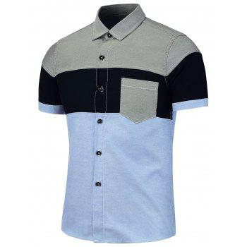 Patchwork Color Block Short Sleeve Shirt