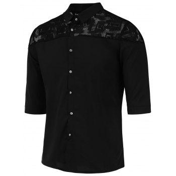 Button Up Half Sleeve Lace Panel Shirt