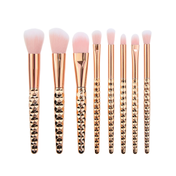 8Pcs Plated Honeycomb Handle Design Makeup Brushes Set