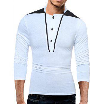 Stand Collar Long Sleeve Color Block Panel T-Shirt