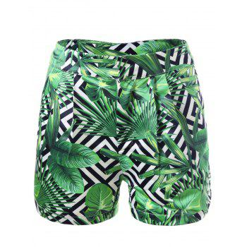 Tropical Leaf Print Pockets Shorts