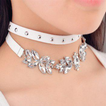 Leaf Faux Crystal Rivet Choker Necklaces