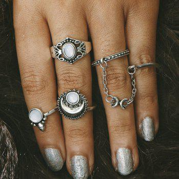 Faux Opal Moon Rings