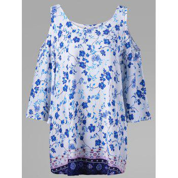 Plus Size Tiny Floral Cold Shoulder Bohemian Blouse