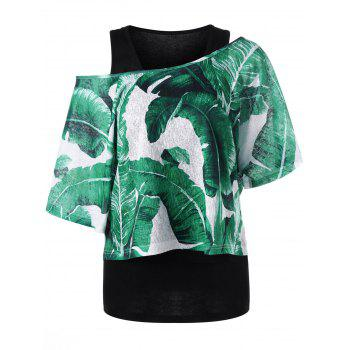 Skew Collar Tropical Leaf T-shirt