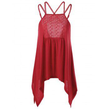 Criss Cross Embroidery Handkerchief Hem Tank Top