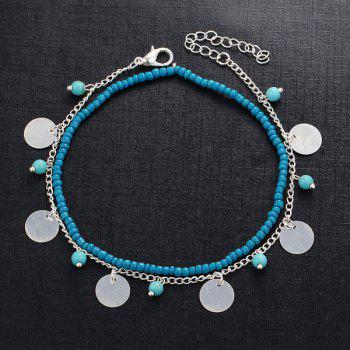 Artificial Turquoise Disc Beaded Charm Anklet Set -  SILVER