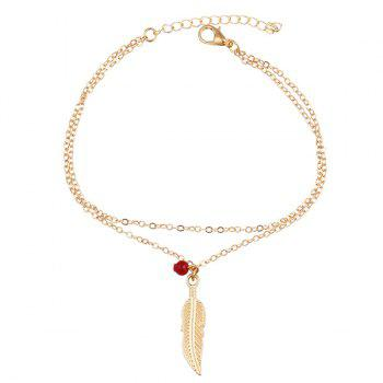 Layered Alloy Feather Bead Charm Anklet - GOLDEN