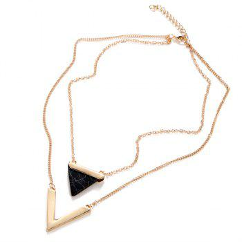 Faux Gem Triangle V-Shape Layered Necklace