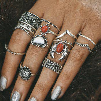 Engraved Moon Sun Vintage Finger Ring Set