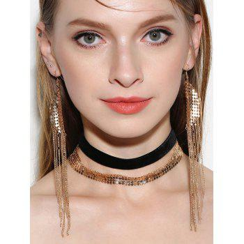 Disc Choker Necklaces and Fringed Earrings