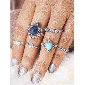 Faux Turquoise Oval Bohemian Finger Ring Set - SILVER SILVER
