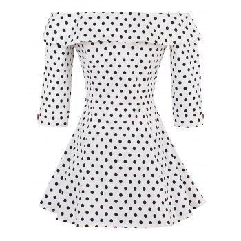 Polka Dot Off Shoulder Peplum Top - WHITE WHITE