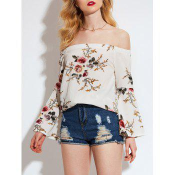 Floral Printed Off Shoulder Flared Sleeve Blouse - OFF WHITE OFF WHITE