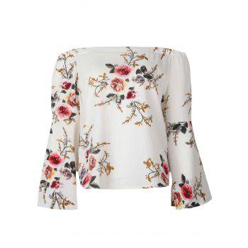 Floral Printed Off Shoulder Flared Sleeve Blouse - L L