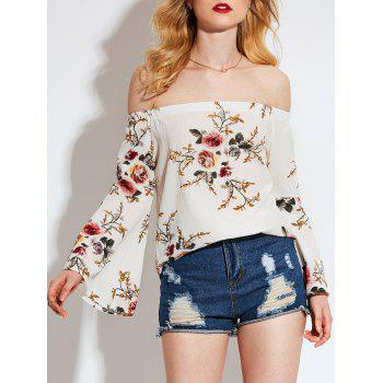 Floral Printed Off Shoulder Flared Sleeve Blouse - OFF-WHITE XL