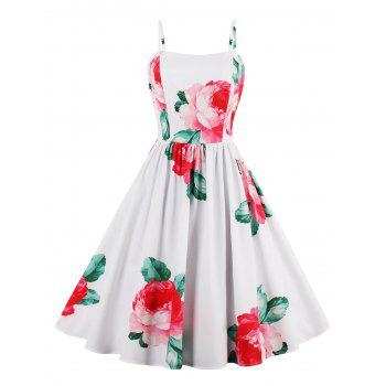 Flower Print A Line Sleeveless Sundress - WHITE M