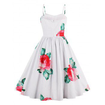Flower Print A Line Sleeveless Sundress - M M