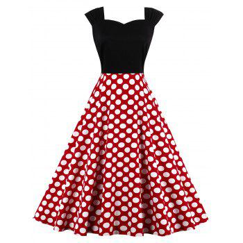 High Waist Sleeveless Polka Dot 50s Dress