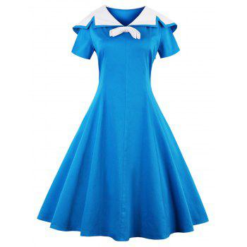 Sailor Collar Short Sleeve Flare Dress