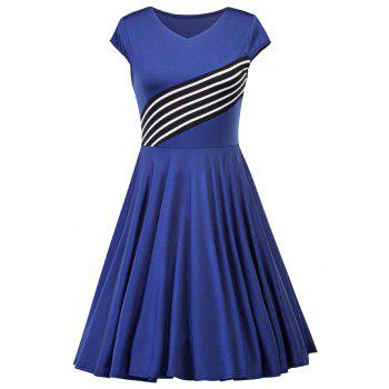 Vintage V Neck Striped Insert Dress