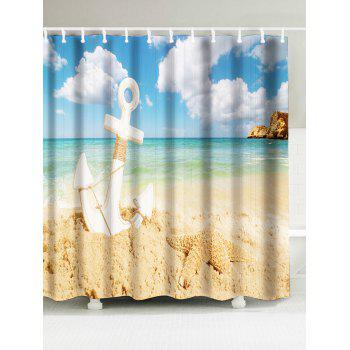 Anchor Beach Starfish Print Waterproof Shower Curtain
