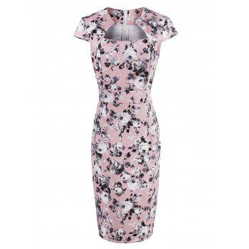 High Waist Roses Print Bodycon Midi Dress