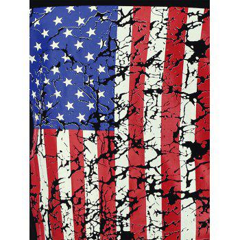 4th of July Distressed American Flag Tank Top - BLACK BLACK